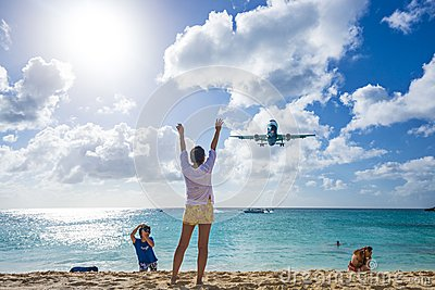 Maho Beach, Philipsburg, Sint Maarten, Dutch Antil Editorial Stock Photo