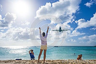 Maho Beach, Philipsburg, Sint Maarten, Dutch Antil Editorial Stock Photo