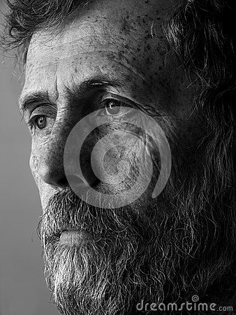 Philosopher - pensive man with beard portrait