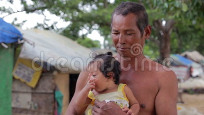 Father And Daughter In Cambodian Slums Stock Footage Video