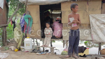 Kids In Cambodian Slums Stock video footage | 1099680