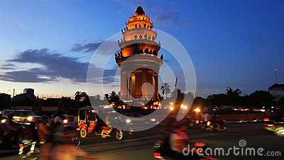 Phnom Penh at Night Editorial Stock Photo
