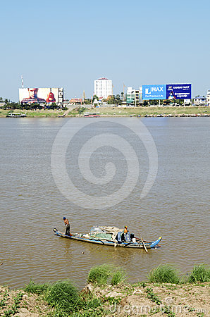 Phnom penh riverside in cambodia Editorial Stock Photo