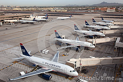 US Airways aircraft at Phoenix Sky Harbor Airport Editorial Image