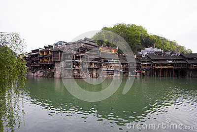 Tuojiang River both banks scenery in Phoenix County, china