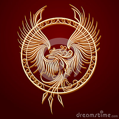 phoenix emblem in circle stock vector image 59539503