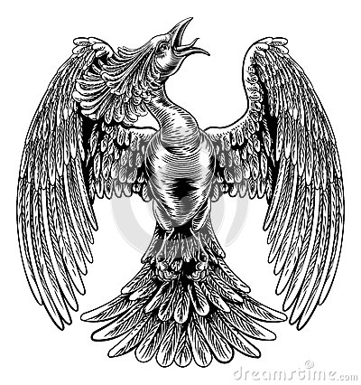 Free Phoenix Fire Bird In Vintage Woodcut Style Royalty Free Stock Image - 77702766