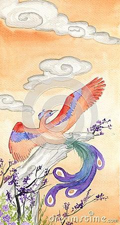 Phoenix -hand painted watercolor