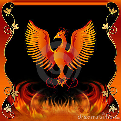 Free Phoenix With Fire And Decorative Border Stock Image - 7544121