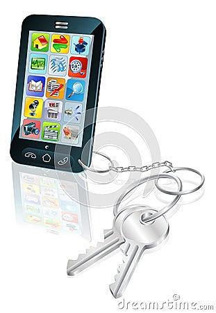 Phone access security keys concept illustration