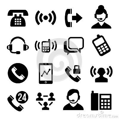 Free Phone And Call Center Icons Set Royalty Free Stock Photos - 40593908