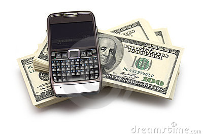 Phone and dollar bank notes