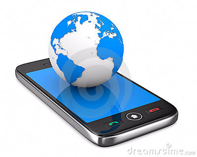 Phone and globe on white background