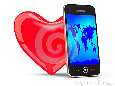 Phone and heart on white background