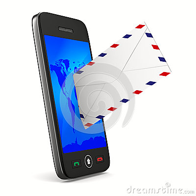 Phone and mail on white background