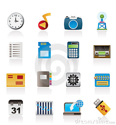 Phone Performance, Internet and Office Icons Vector Illustration