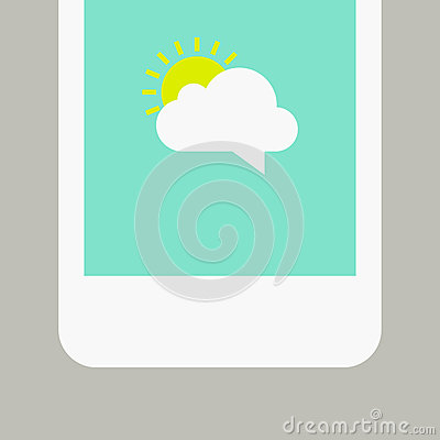 Phone screen with sunny message