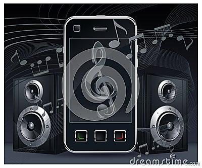 Phone with speakers on black