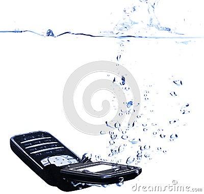 Phone splashing into water - high key