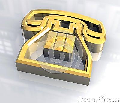 Phone symbol in gold - 3D