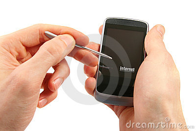 Phone with touch screen in the hands