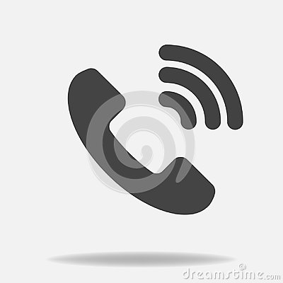 Phone vector icon on flat style. Handset with shadow. Easy editing of illustration. Vector Illustration