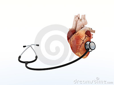 Phonendoscope listens to human heart
