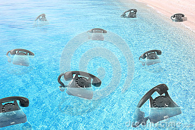 Phones floating on the sea