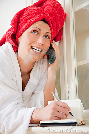 Phoning pampered woman