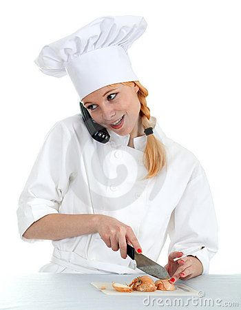 Phoning, smoking female cook cutting onion