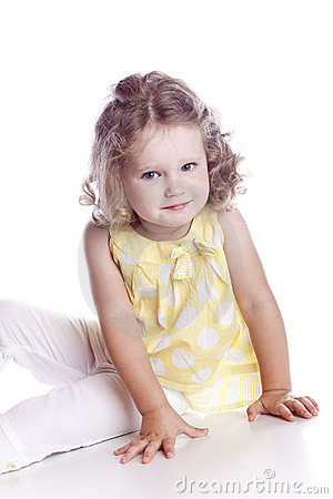 Photo of adorable young girl on white background