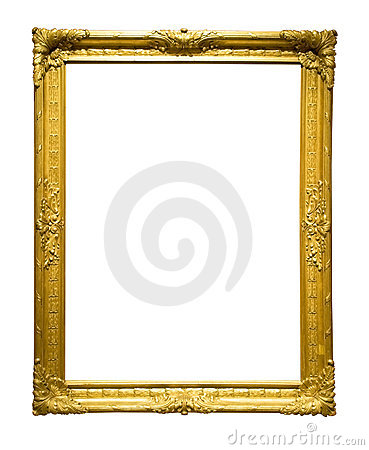 Photo of aged golden picture frame
