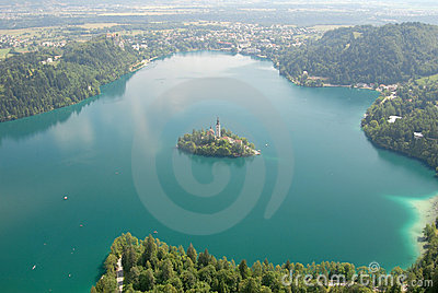 Photo from air perspective, Bled lake with island,
