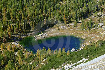 Photo from air perspective, lake in triglav national park