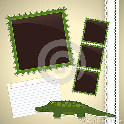 Photo album page with crocodile