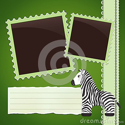 Photo album page with zebra