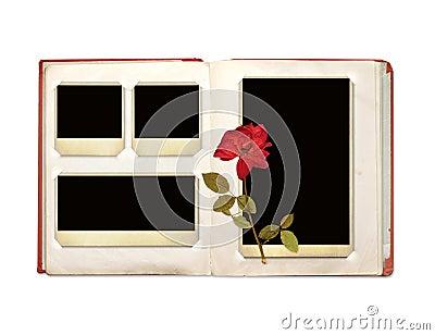 Photo album with retro photos and rose