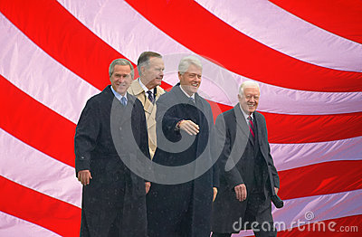 Photo of American flag and former U.S. Presidents Editorial Photo