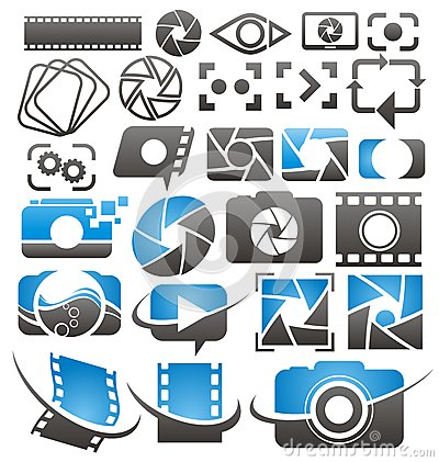 Free Photo And Video Icons, Symbols, Logos And Signs Collection L Stock Photos - 32564493