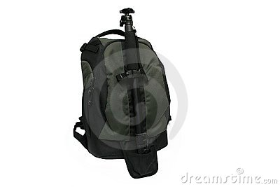 Photo backpack with monopod