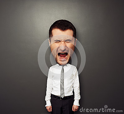 Photo of bighead screaming man