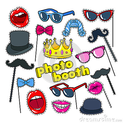 Photo Booth Props with Lips, Hat and Eyeglasses. Party Decoration Badges, Patches and Stickers Vector Illustration
