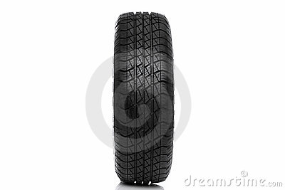 Photo of a car tyre (tire) wheel isolated on white