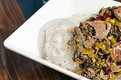 Chinese food-pickled vegetable beef