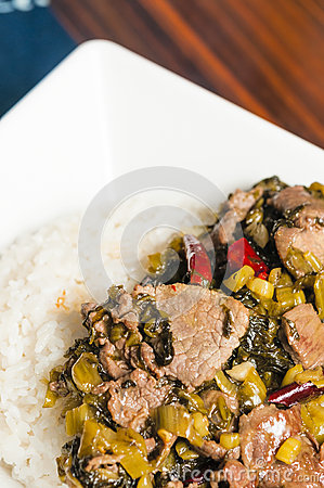 Chinese food-pickled vegetable beef