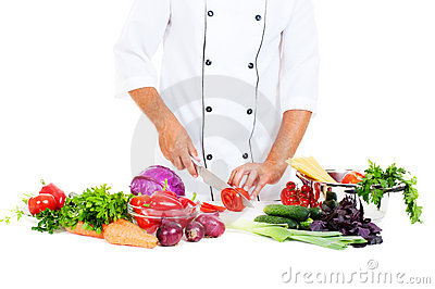 Photo of cook preparing salad