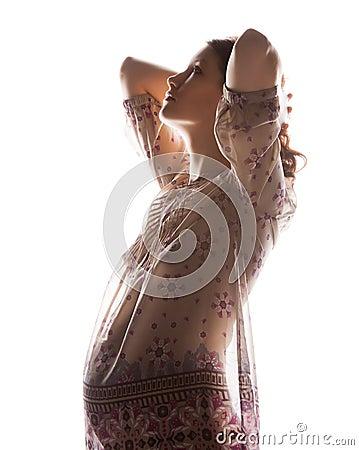 photo de silhouette de belle femme enceinte photos libres de droits image 35507558. Black Bedroom Furniture Sets. Home Design Ideas