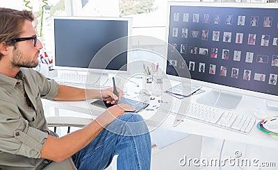 Photo editor using digitizer to edit