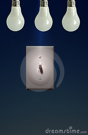 Photo of Electric Light Switch on Blue Background, Power to Ligh