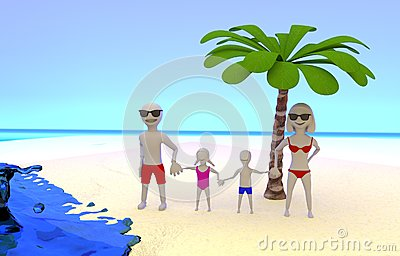 Photo of family on tropical vacation at the seaside
